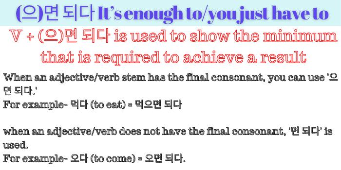 (으)면 되다 grammar in detail