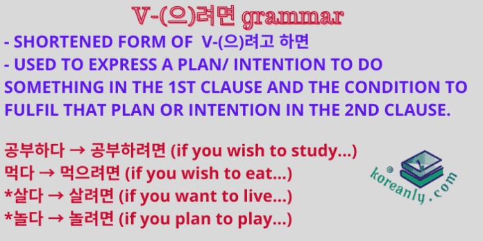 (으)려면 grammar