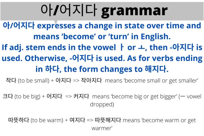 아/어지다 grammar