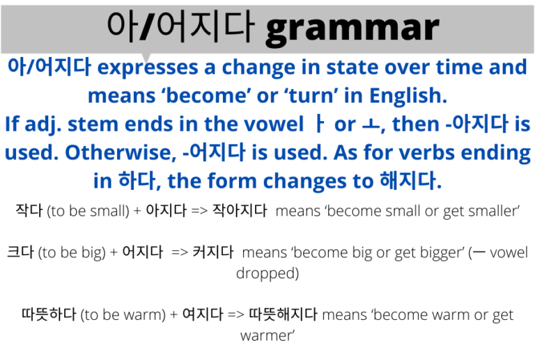 How to use 아/어지다 and 아/어하다 in Korean grammar?
