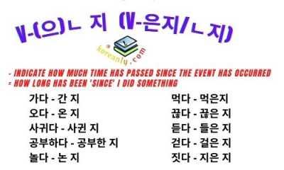 V-(으)ㄴ 지 korean grammar